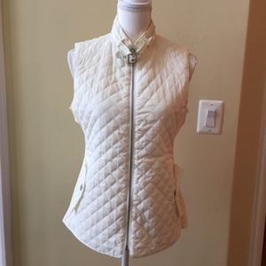 Larry Levine Cream Quilted Mixed Media Vest